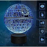 3D Illusion Light, 7Models Touch Control Illusion ottico LED Night Light con cavo di ricarica per Home Decor, Kids, Star Wars Fans (Death Star)