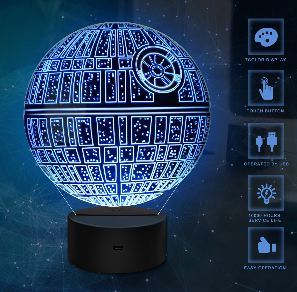 3D Illusion Light, 7Models Touch Control Optical Illusion LED Night Light with Charging Cable for Home Dé cor, Kids, Star Wars Fans (Death Star) 7Models Touch Control Optical Illusion LED Night Light with Charging Cable for Home Décor Jane Choi