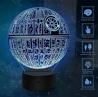 Veilleuse 3d Star Wars Znz Lampe Illusion Etoile De Le Mort R2 D2
