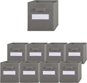 Pomatree Storage Bins - 9 Pack - Durable Storage Cubes with Label Window | 2 Reinforced Handles | Fabric Cube Baskets for Organizing Closet, Clothes and Toys | Foldable Shelves Organizer (Grey)