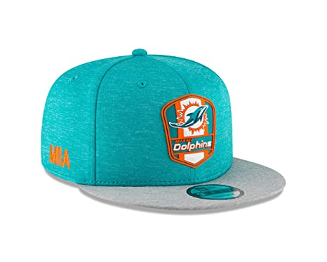 Image Unavailable. Image not available for. Color  New Era Miami Dolphins  2018 NFL Sideline Road Official 9FIFTY Snapback Hat b6446734ed7