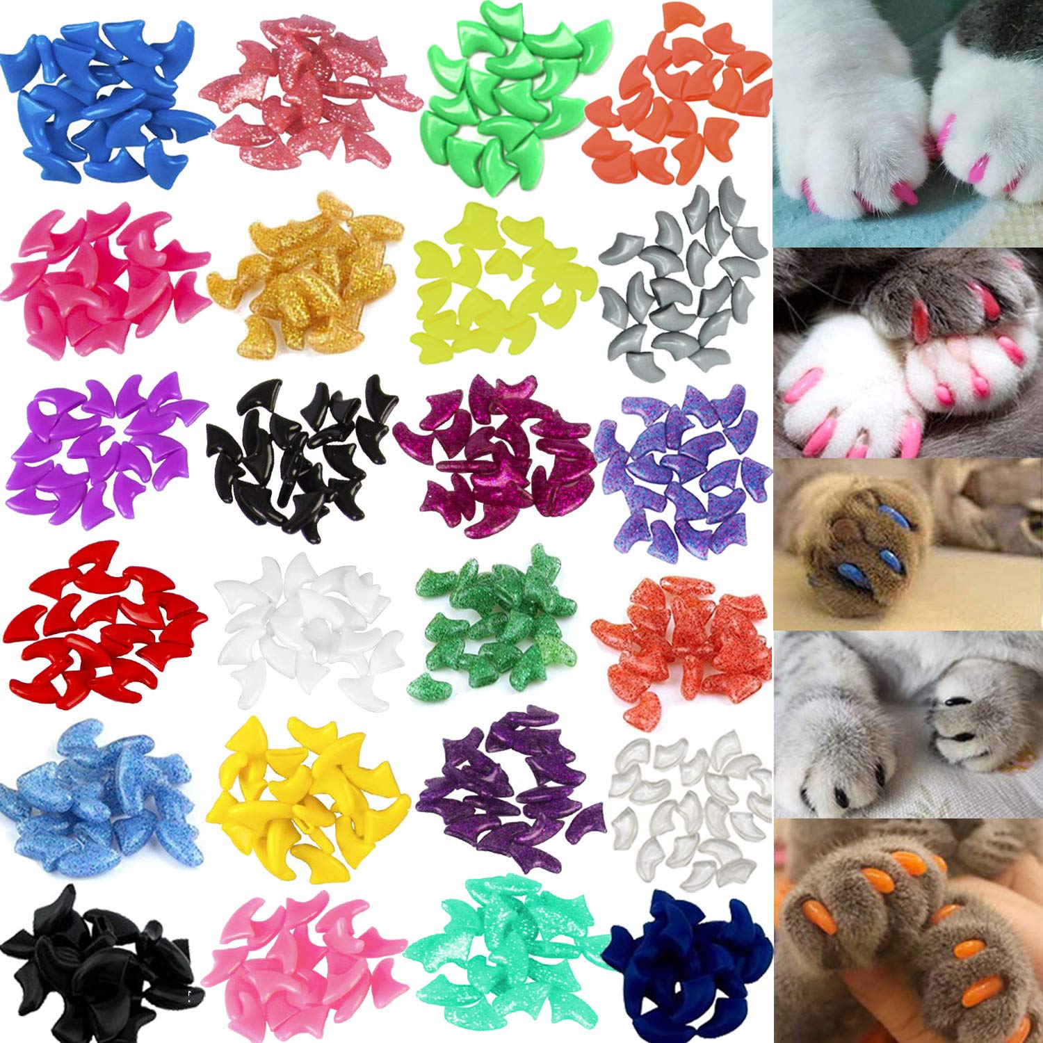 VICTHY 140pcs Cat Nail Caps, Colorful Pet Cat Soft Claws Nail Covers for Cat Claws with Glue and Applicators Medium Size by VICTHY