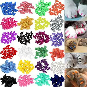 VICTHY 140pcs Cat Nail Caps, Colorful Pet Cat Soft Claws Nail Covers for Cat Claws with Glue and Applicators Large Size