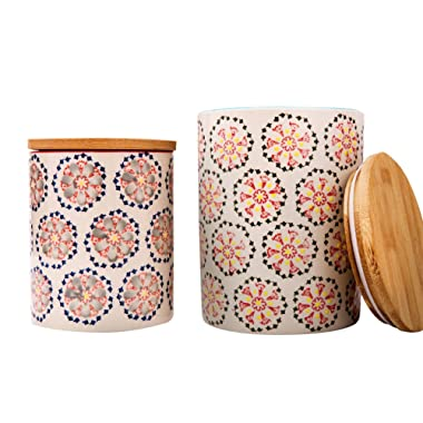 Kitchen Canister Set 2 Stoneware Jars for Tea, Coffee, Sugar, Vintage Embossed Floral Pattern, Kitchen Gift
