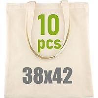 D.RECT 110822 LEVIATAN Set de 10 Bolsa de algodón Natural con Asas largas, 38x42, Bolsa de Yute, Densidad 145gr/m2…
