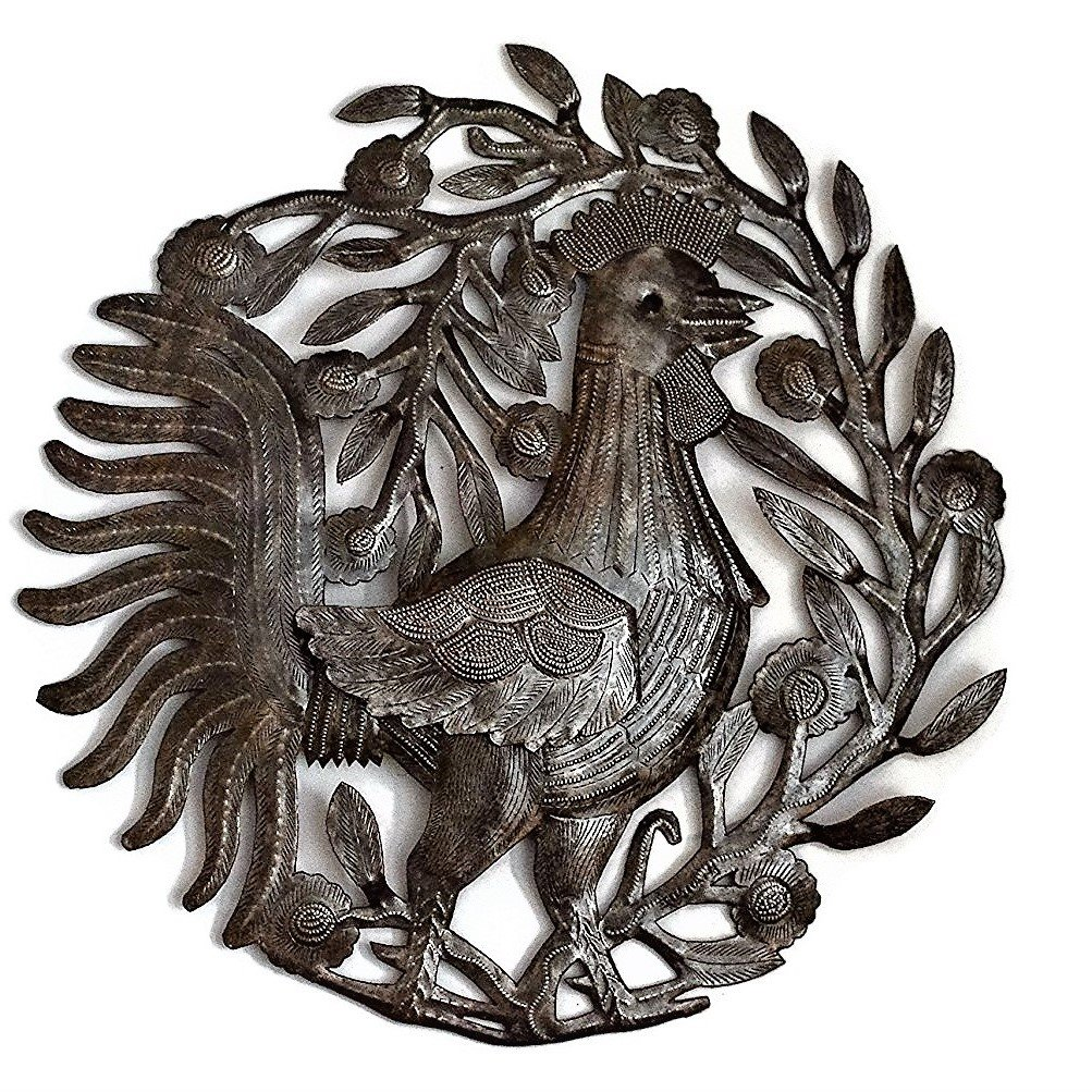 """Metal Rooster, Country Kitchen Wall Art, Farmhouse Decor, Handmade in Haiti, 15.5"""" X 15.75"""""""