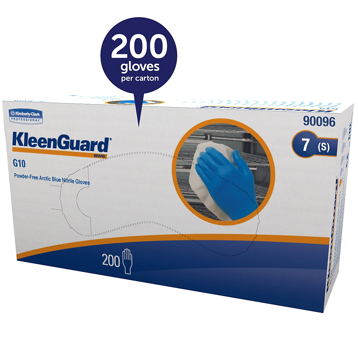 Amazon.com: Kleenguard G10 Arctic Blue Nitrile Gloves (90096),  Ambidextrous, Powder Free, Small (Sml), 10 Dispensers / Case, 200 Gloves /  Dispenser, ...