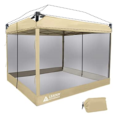 Leader Accessories Mesh Screen Zippered Wall Panels for 10' x 10' Canopy (Tent Walls Only, Frame and Top Not Included) (Beige mesh Wall)