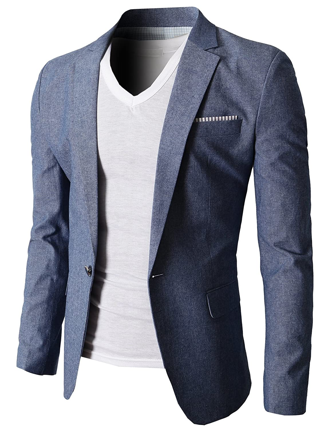 H2H Mens Fashion Slim Fit Single Button Flap Pockets Linen Blazer