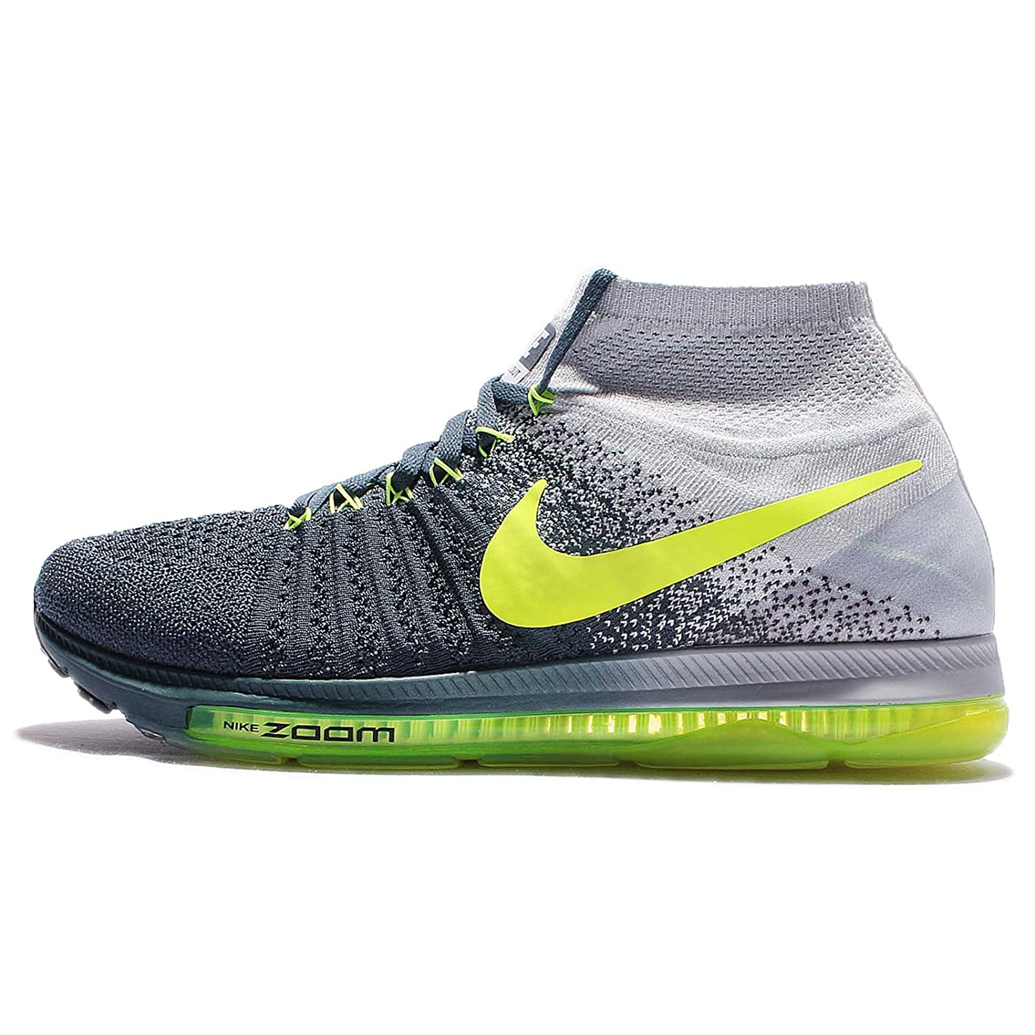 Nike Zoom All Out Flyknit Mens Running Trainers 844134 Sneakers Shoes 青 Volt Pure Platinum 407 10 D(M) US
