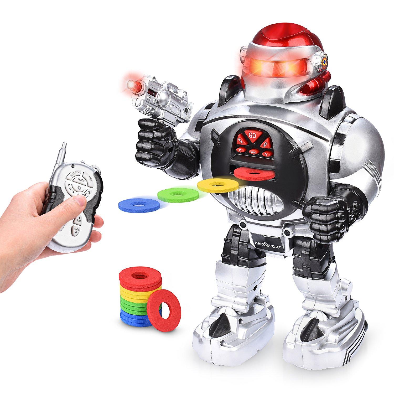 Abco Tech Remote Control RC Robot Kids – Shoots Kid-Friendly Design – LED Lights Music /& Dapper Dance Moves Talks Sings Dances Slides – Fun /& Entertaining Companion Kids – Easy to Use