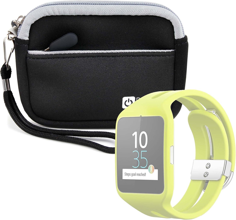 DURAGADGET Estuche De Neopreno Negro para Reloj Sony Smartwatch 3 Sport   Garmin Forerunner 230 + Correa Guardar Su Dispositivo!