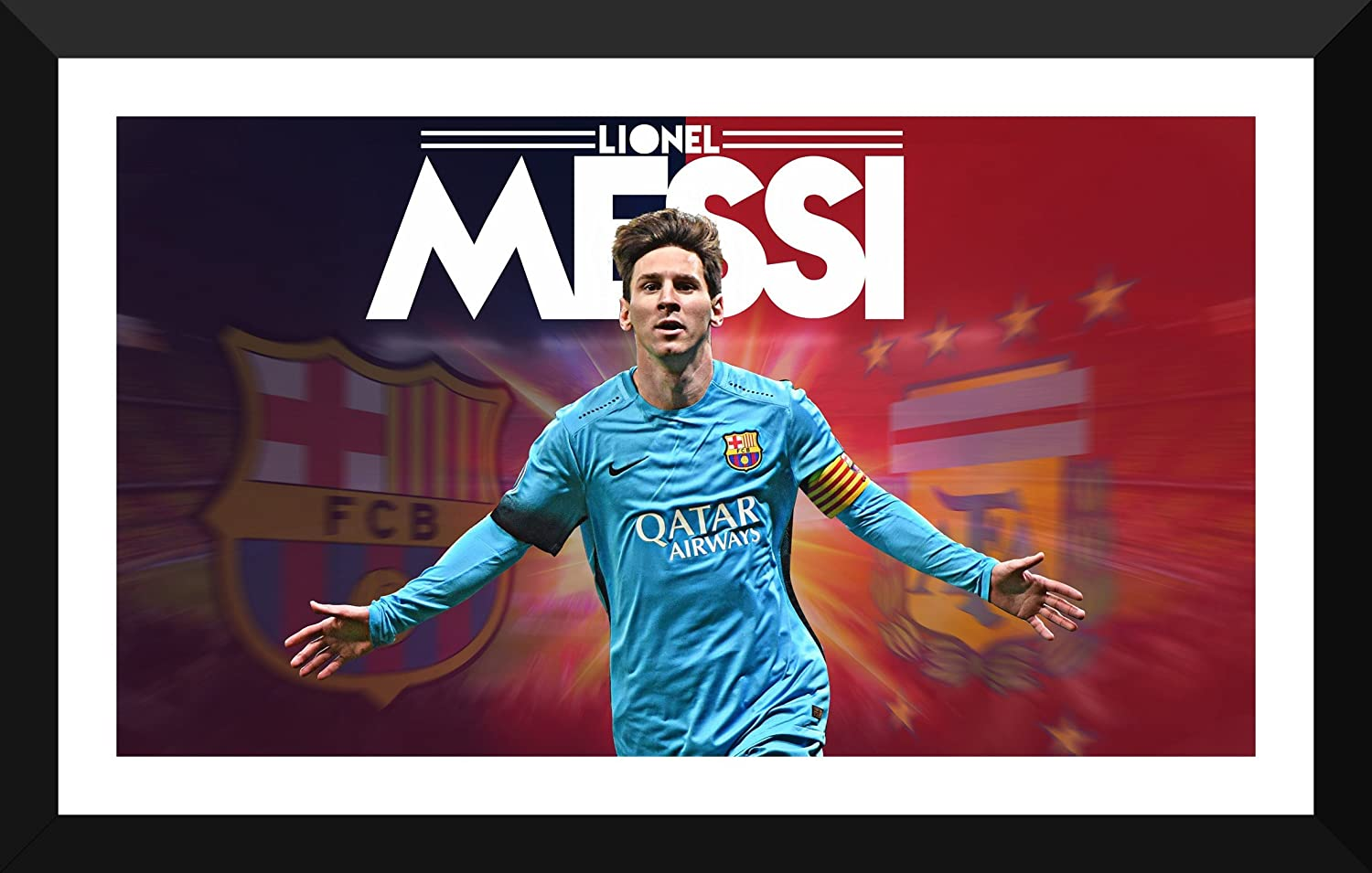 54dbc1d5232 Tallenge - Lionel Messi Football Poster 27 - Medium Poster Paper - Framed  (18 x 24 inches): Amazon.in: Home & Kitchen