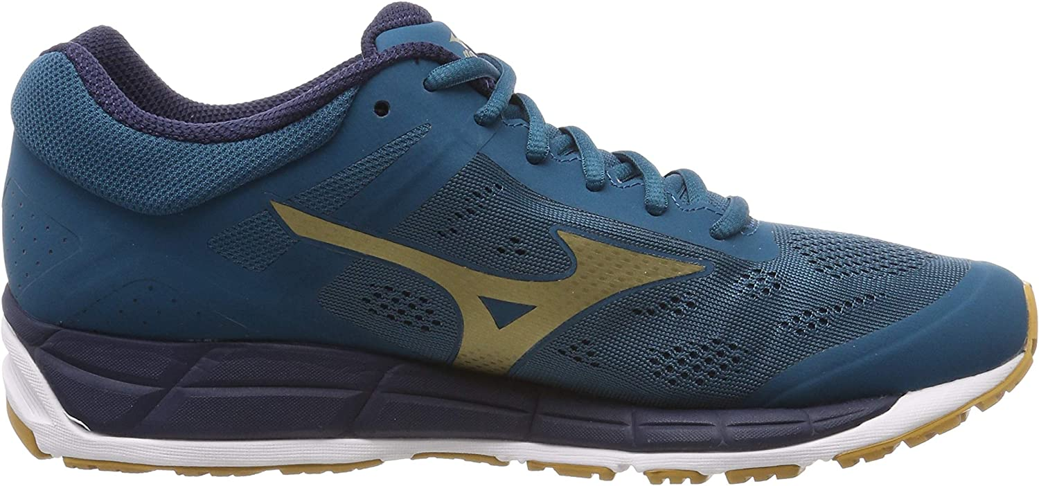Mizuno Mens Synchro MX 2 Blue Coral Gold Mesh Trainers 11 US
