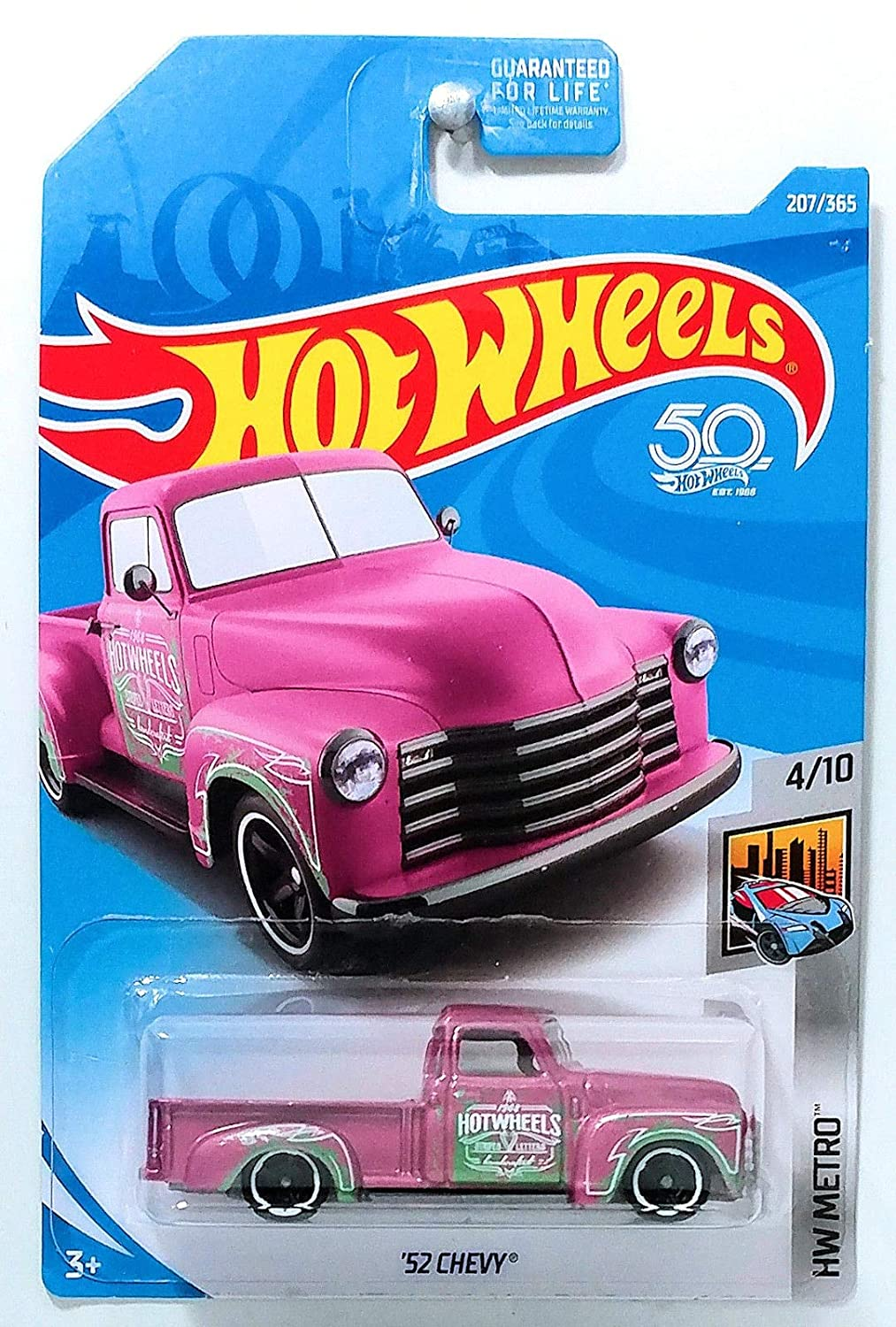 Hot Wheels 2018 '52 Chevy HW Metro Pink 207/365, Long Card by Mattel