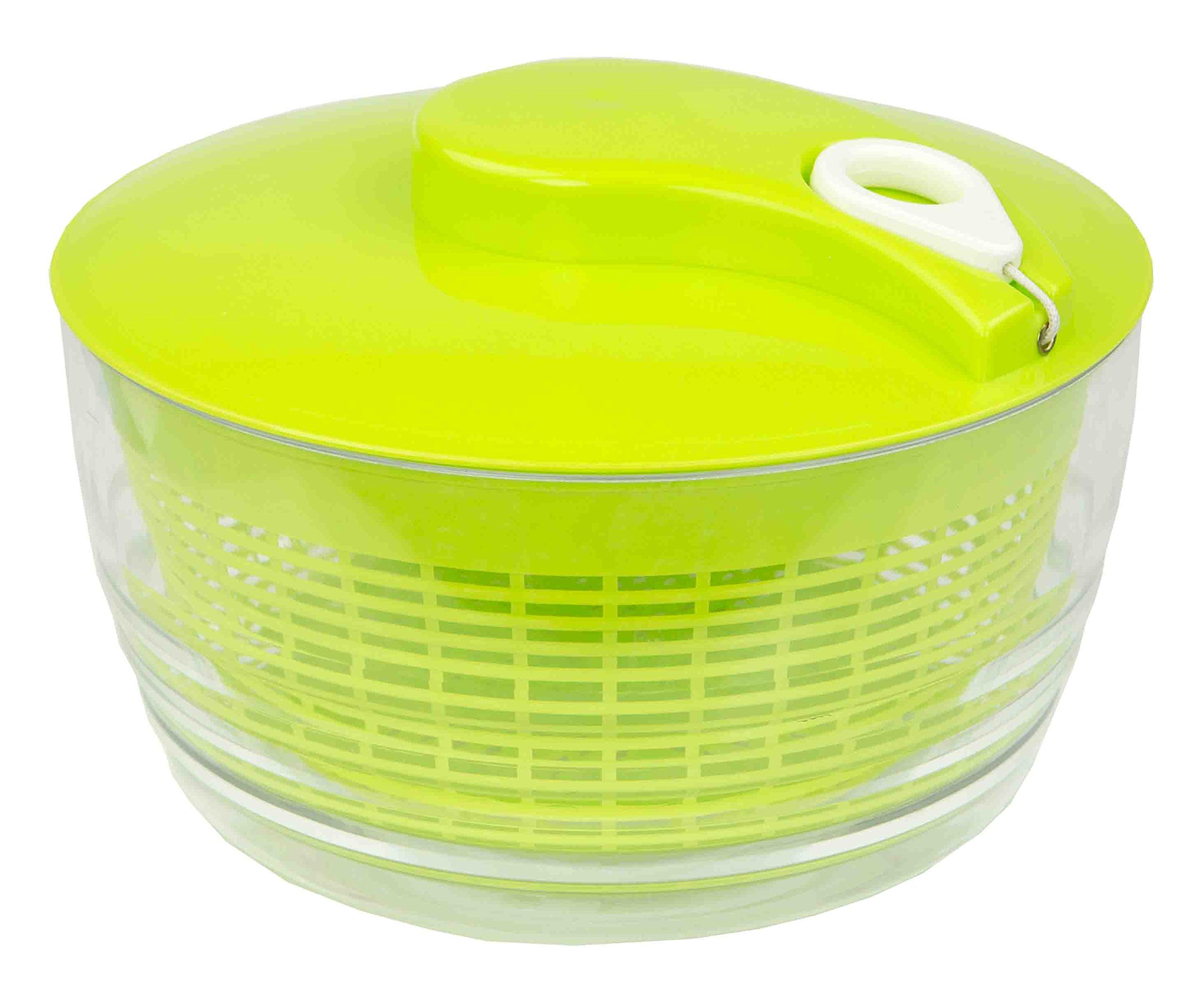 Home Basics Salad Spinner, Green and White (Spinner With Rip Chord)