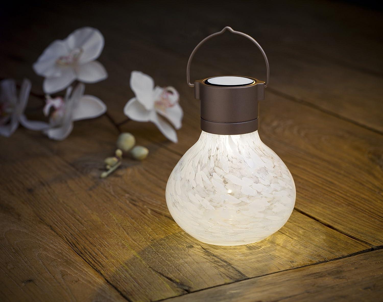amazoncom allsop home and garden solar tea lantern handblown glass with solar panel and led light for outdoor deck patio garden - Outdoor Solar Lanterns