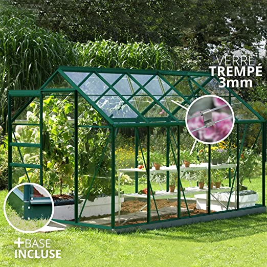 lams 788688 Invernadero Venus 6200 Verde + Vidrio Templado + Base ...