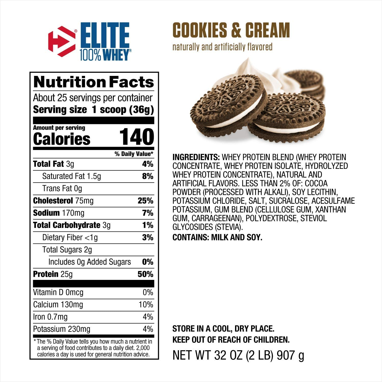 Dymatize Nutrition Dymatize Elite 100% Proteína de Suero, Galleta y Crema, 2 Libras 920 g