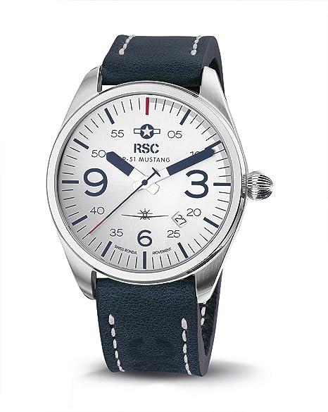 RSC Relojes De Piloto Hombres Análogo De Cuarzo Reloj con Cuero Pulsera P-51 Mustang rsc1610: ronald steffen: Amazon.es: Relojes