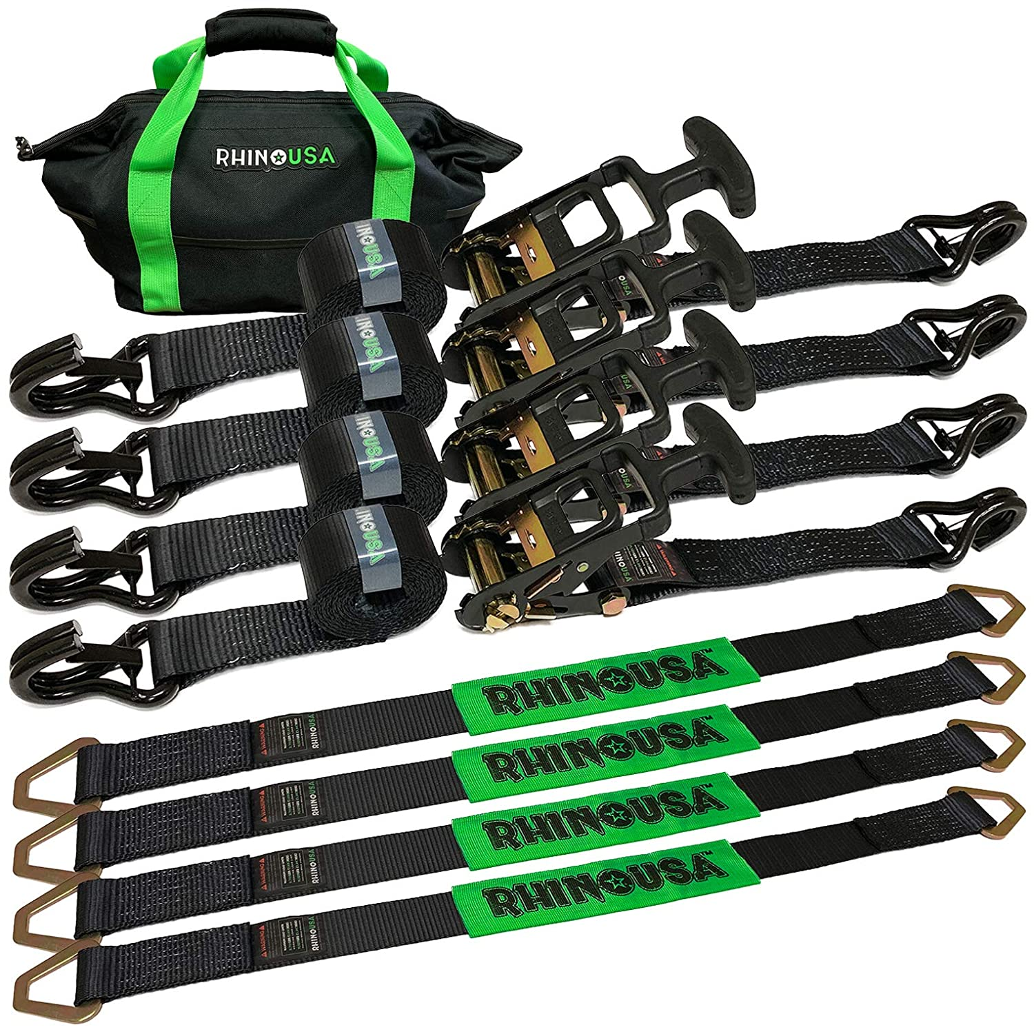 """Rhino USA Heavy Duty Vehicle Tie Down Kit - 11,128lb Guaranteed Break Strength - Use for Car, Truck, UTV - (4) Premium 2"""" x 8' Ratchet Straps with Padded T-Handles + (4) Axle Strap Tie Downs"""