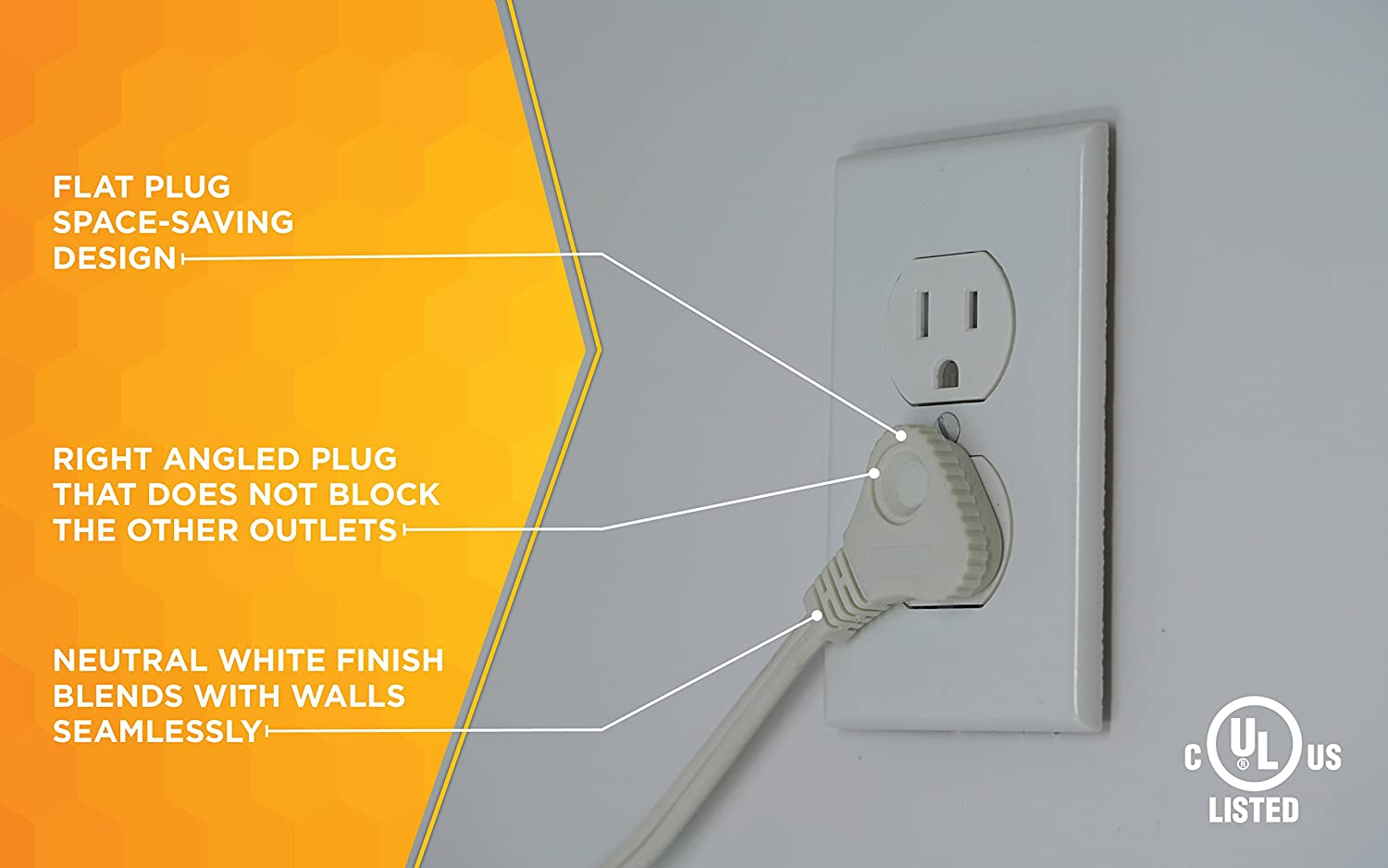 SlimLine 2236 Flat Plug Extension Cord, 2-Wire, 7-Foot, White ...