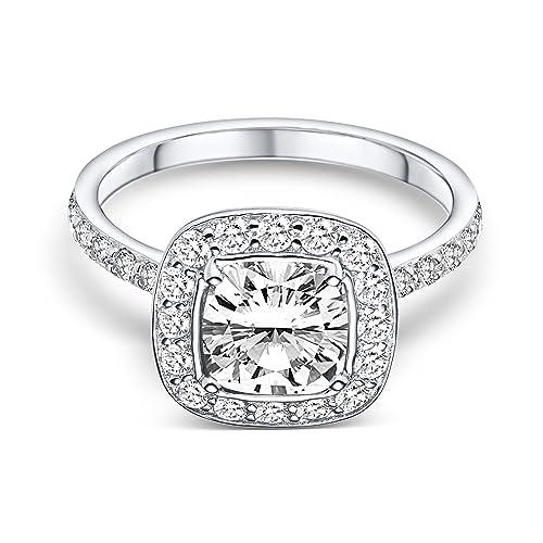"""Caja del anillo propuesta con """"I love you"""" grabado! Plata diamante Swarovski"""