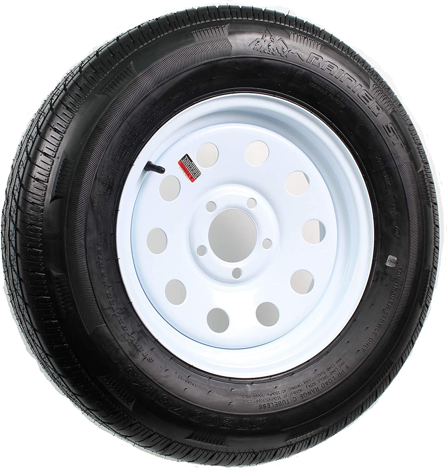 1x TRAILER TIRES ST 205//75R 15 Radial WhiteSpoke Wheels Rims 15