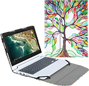 "Fintie Sleeve Case for 11.6"" Lenovo Chromebook C330 - Premium PU Leather Protective Portfolio Book Cover (NOT Fit Lenovo Chromebook N20p / N21 / N22 / N23 / 300E / 500E / Flex 11), Love Tree"