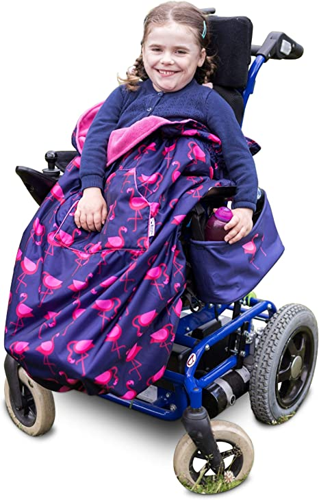 100% Waterproof Fleece lined Wheelchair Cosy Wheelchair Cover | Universal fit for wheelchairs and special needs buggies | Child size (Navy Flamingo)