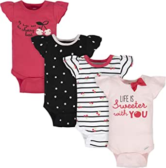 Gerber baby-girls 4-pack Short Sleeve Onesies Bodysuits
