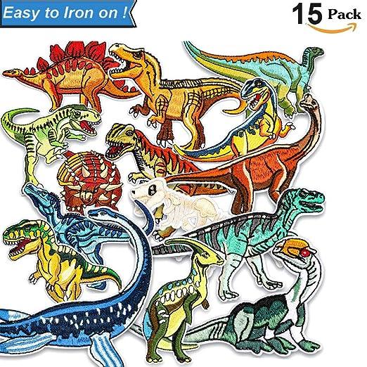 Unique Store Parches Dinosaurios 15-PACK Parches De Dinosaurios Parches Ropa Termoadhesivos Bricolaje Hierro-en Parches de Ropa para T-shirt Jeans ...
