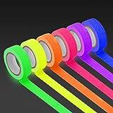 KIWIHUB UV Blacklight Reactive (6pack) (6 Colors) 0.59inch x 16.4ft per Color, Fluorescent Cloth/Neon Gaffer Tape, Super…