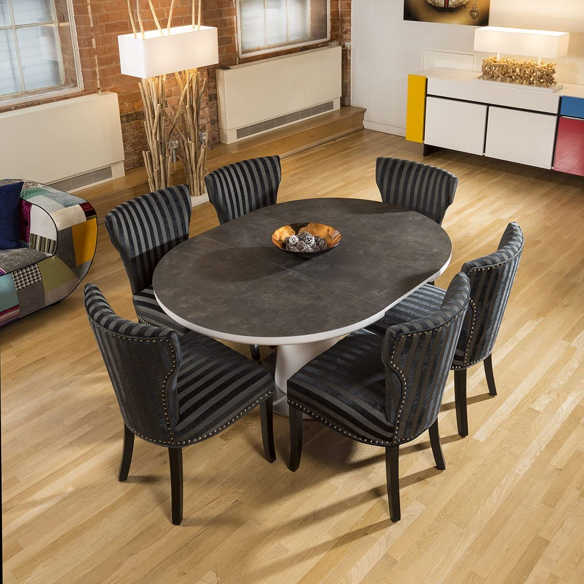 Ceramic Round Oval Extendable Dining Table and 9 Striped Fabric ...