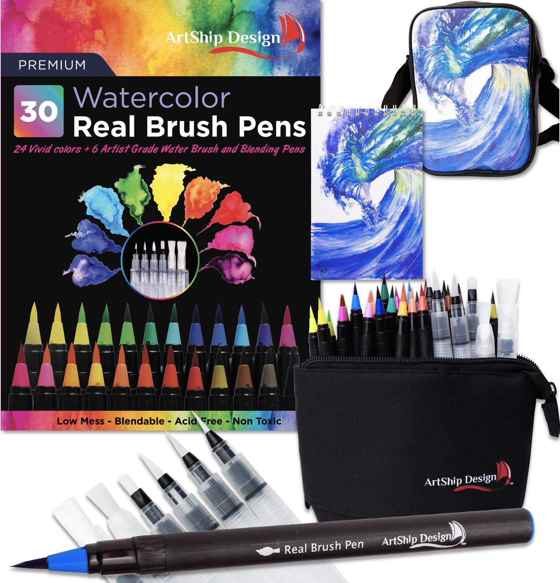 Gift Pack 30 Watercolor Brush Pens, Matching Messenger Bag and Watercolor Pad, Custom Folding Upright Pen Case, 24 Colors 6 Water Brushes, Real Nylon Brush Tips, Watercolor Painting, Low Mess, Wave by ArtShip Design