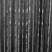 Drop Beaded Tassel String Curtain Door Window Home Decor Divider 1 x 2M Black