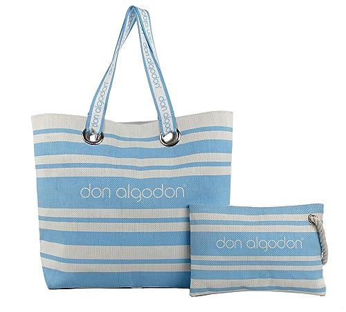 Don Algodon Beach Edition, Bolsa de Tela y de Playa para Mujer, (Azul), 17x49x38 cm (W x H x L)