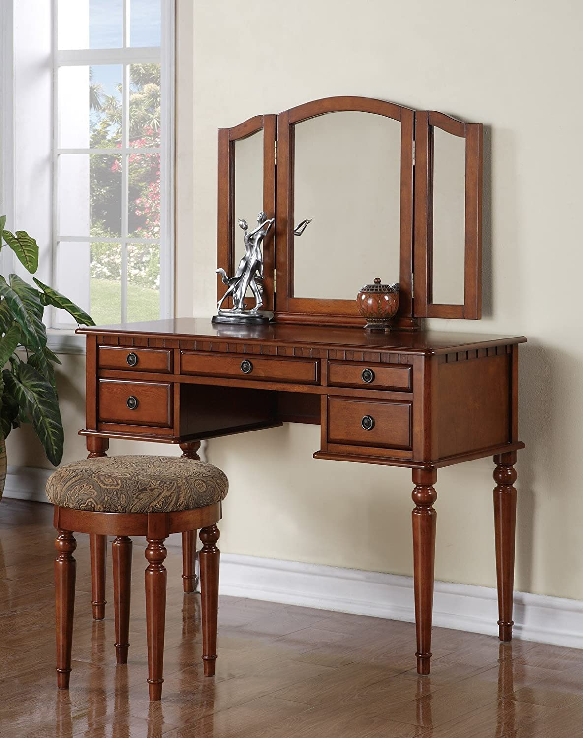 Bobkona F4073 St. Croix Collection Vanity Set with Stool, Walnut