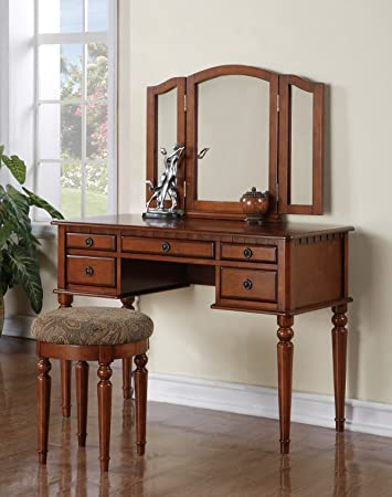 Magnificent Bobkona F4073 St Croix Collection Vanity Set With Stool Walnut Machost Co Dining Chair Design Ideas Machostcouk