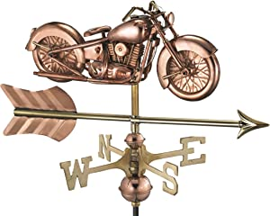 Good Directions Motorcycle with Arrow Garden Weathervane, With Roof Mount