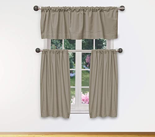 Home Maison – Max Solid Linen Textured Kitchen Tier Valance Set Small Window Curtain for Cafe, Bath, Laundry, Bedroom – Beige Brown