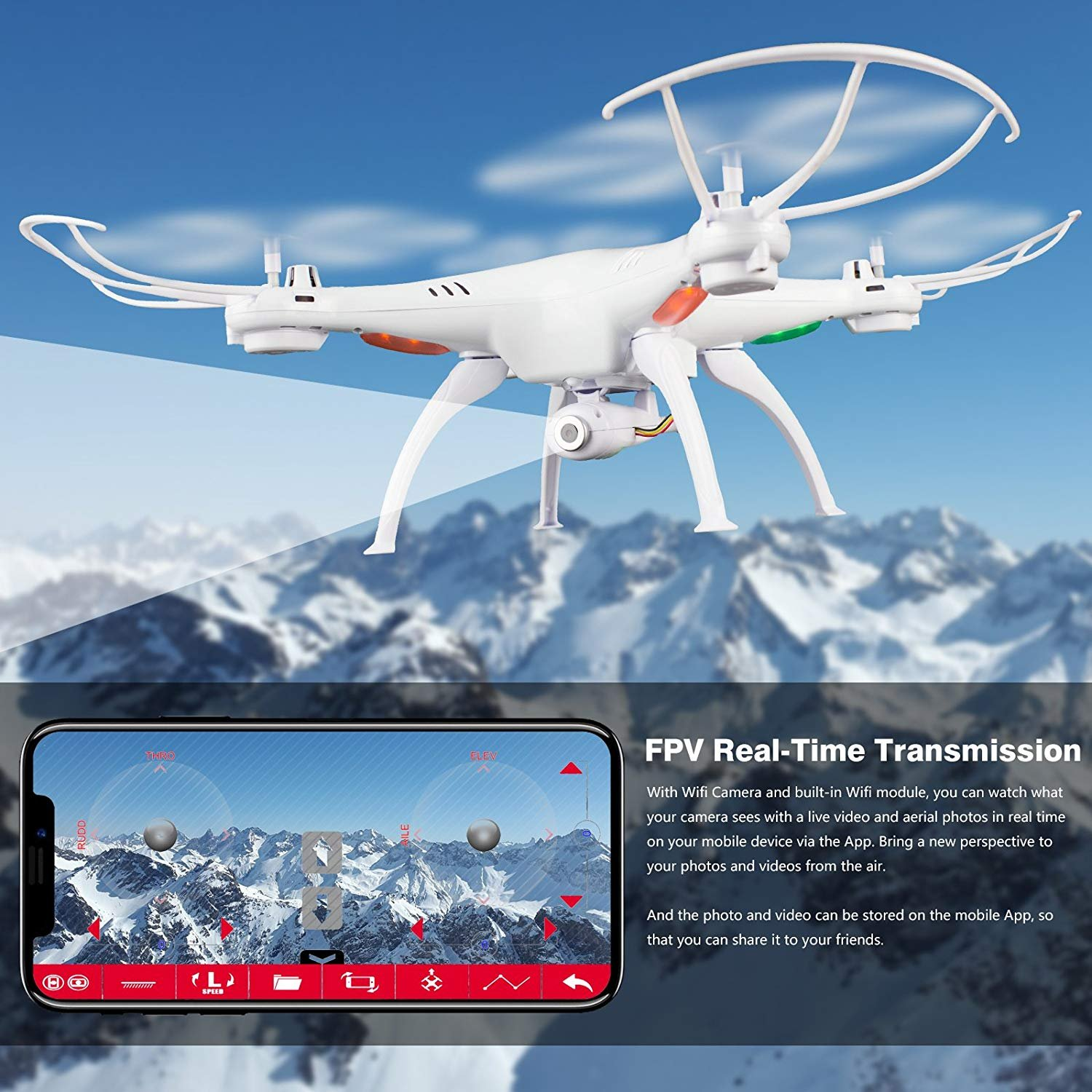 Cheerwing Syma X5SW-V3 FPV Explorers2 2.4Ghz 4CH 6-Axis Gyro RC Headless Quadcopter Drone UFO with HD Wifi Camera (White) by Cheerwing (Image #3)