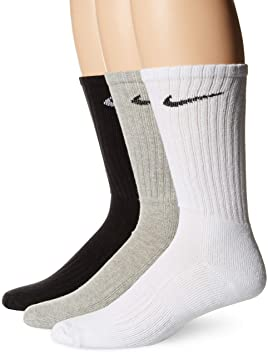 Nike 3PPK Value Cotton Crew Calcetines, Hombre, Negro, S