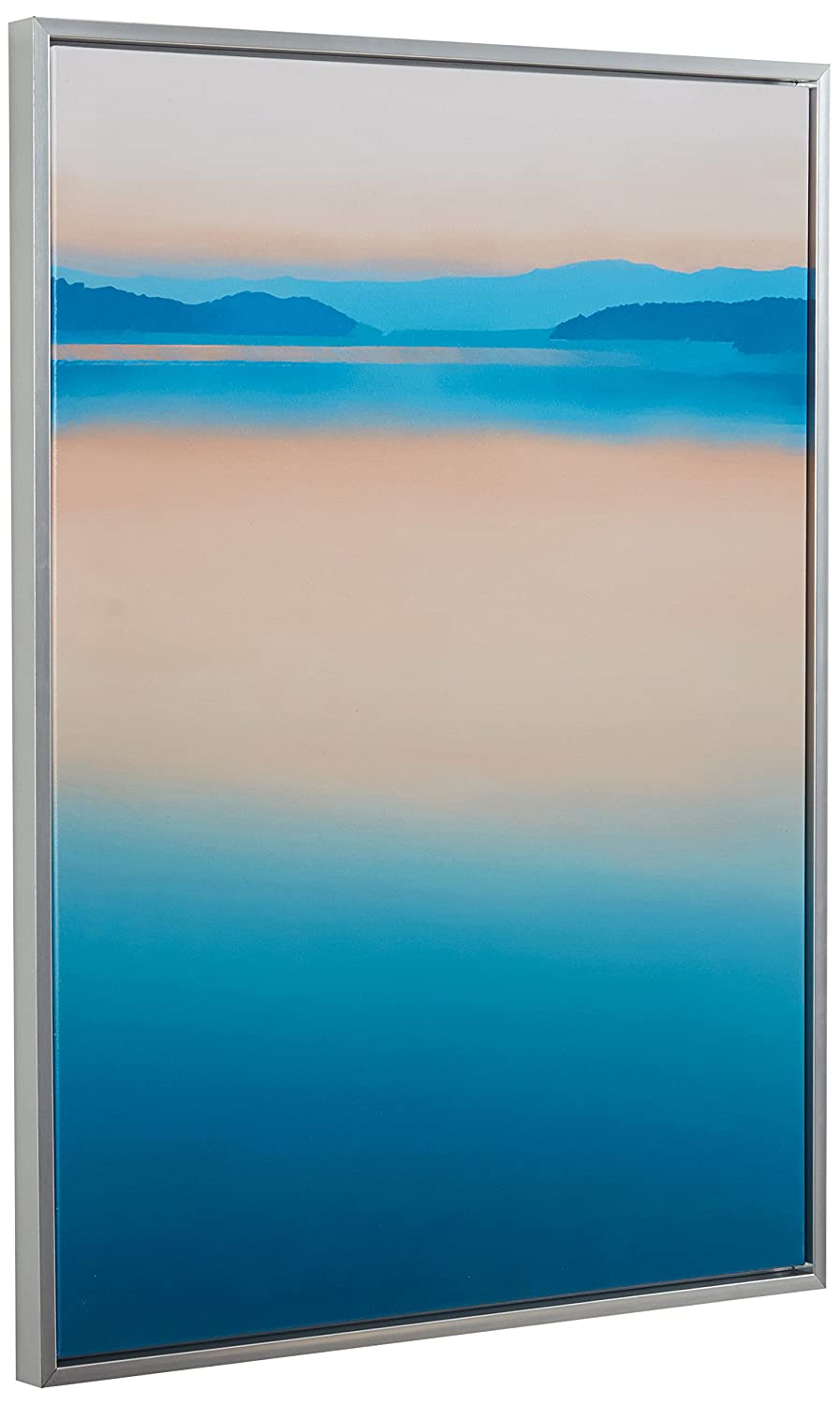 Calm Paradise Water Horizon at Dawn Canvas Wall Art, Silver Frame, 17.75 x 21.75