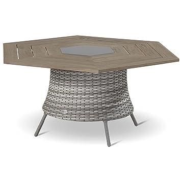 Hartman Provence Tisch Hexagon Teak Platte 160 Cm Wicker Royal Grey