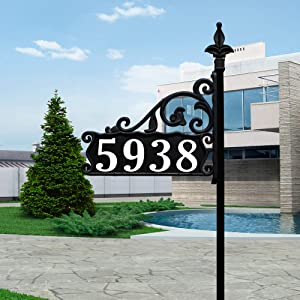 """Address America USA Handcrafted in Our Small Family Shop Boardwalk (30"""" Post) Reflective 911 Double Sided Black Home Address Sign for Yard. Customized with Your Address Numbers on Both Sides."""
