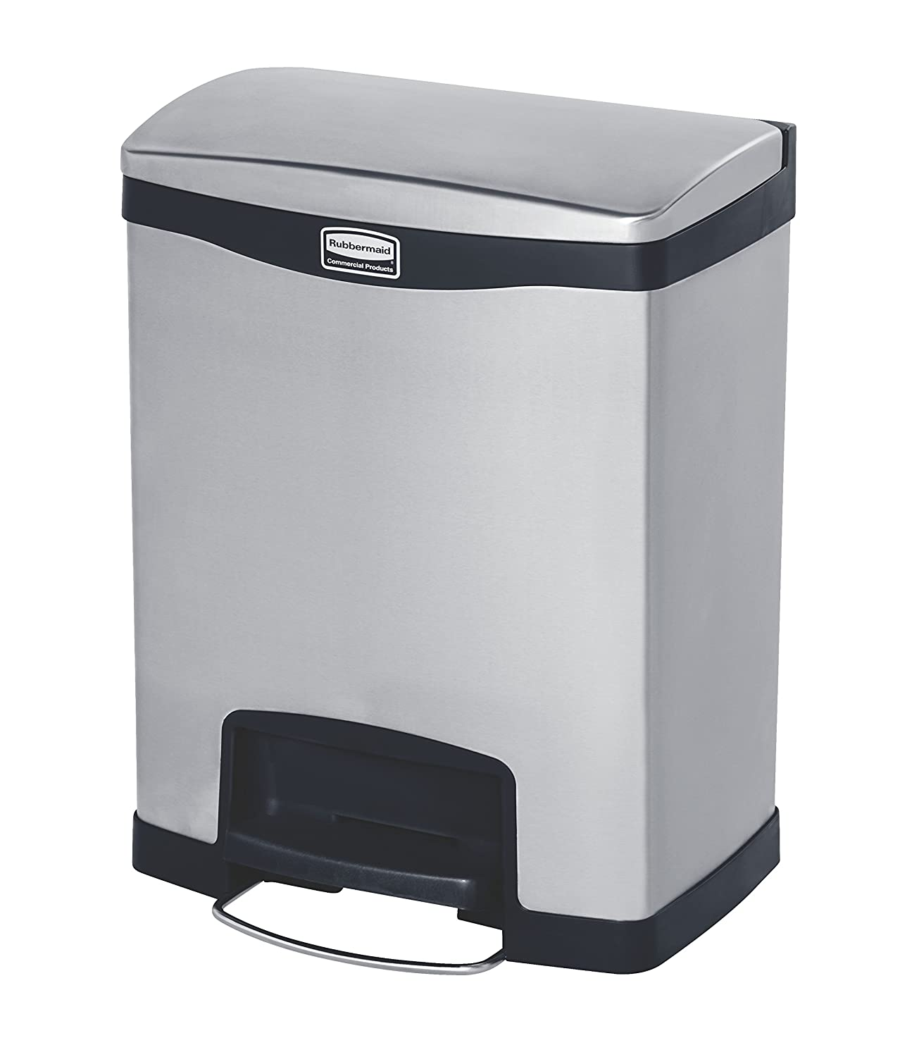 Rubbermaid Commercial Slim Jim Stainless Steel Front Step-On Wastebasket, 8-Gallon, Black (1901985)