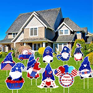 Lanstics 10pcs Patriotic Yard Sign, 4th of July Stars and Stripes Outdoor Yard Lawn Decor Sign Garden Gnomes Yard Sign Decorations Independence Day Memorial Patriotic Sign Supplies