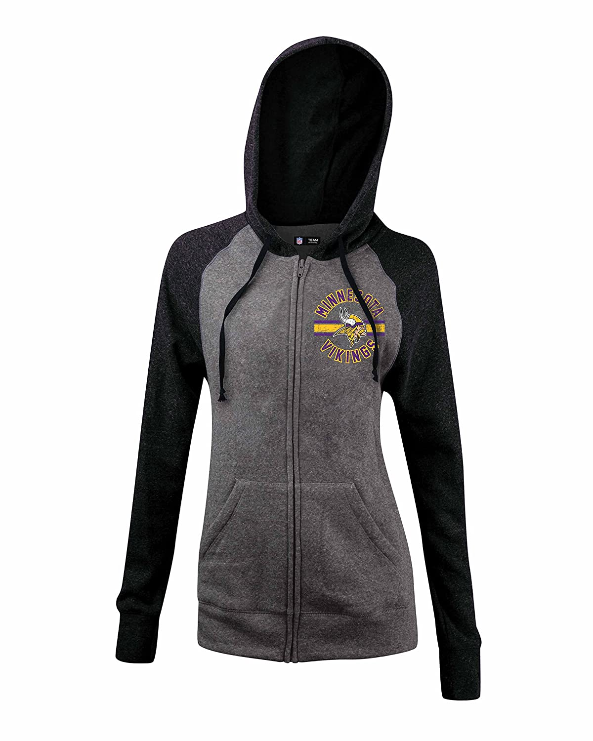 a9d76841a7b A-Team Apparel NFL Ladies Tri Blend Fleece Zip Up Hoodie with Contrast  Sleeves and Hood