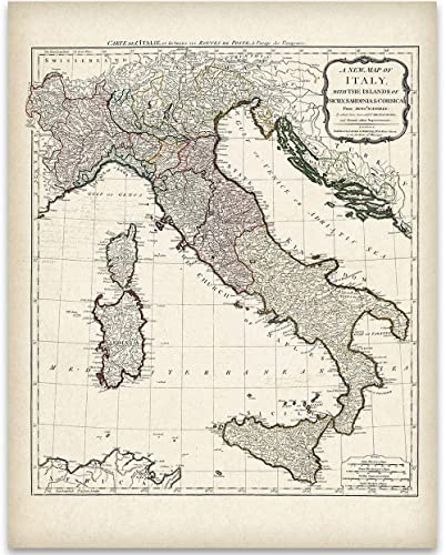Map Of Italy Simple.1794 Italy Map 11x14 Unframed Art Print Great Home Decor Under 15 For Italians